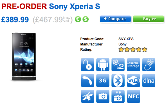 Sony Xperia S Pre-Order now with Clove UK