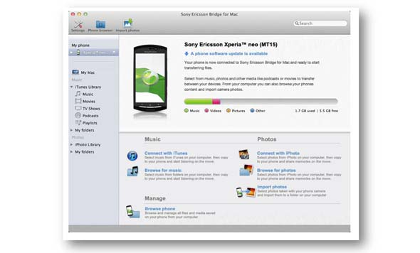 Sony Ericsson Bridge for Mac 2.0 to bring Software Update Support