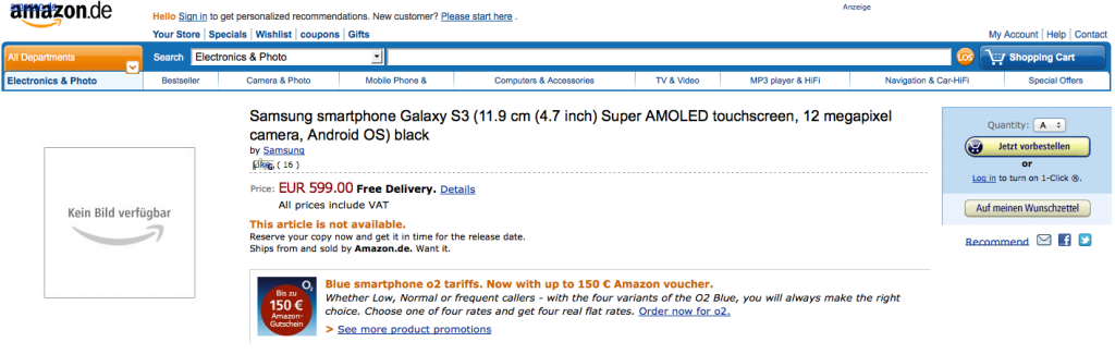 Samsung Galaxy S III available for preorder with Amazon Germany