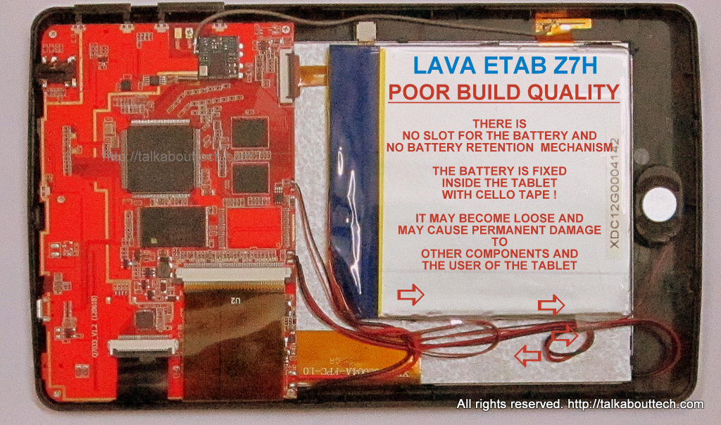 LAVA E-TAB Z7H TABLET POOR BUILD QUALITY